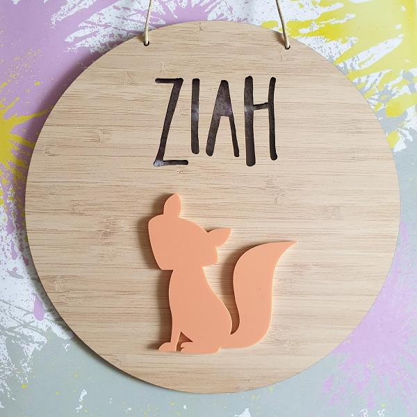 Fox Personalised Bamboo / Acrylic Name Sign
