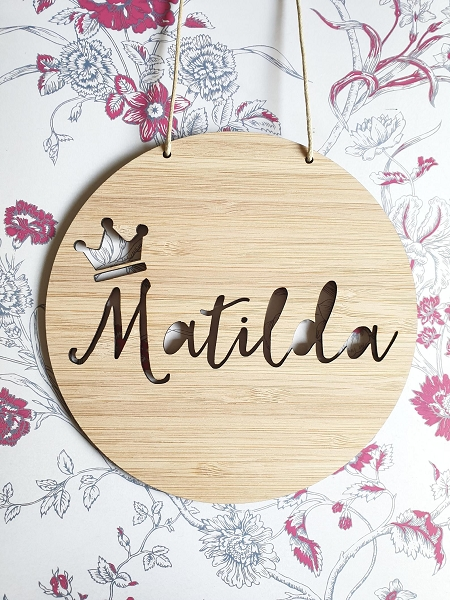 Crown Personalised Bamboo Name Sign