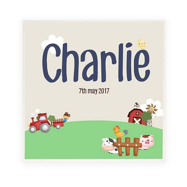 On the Farm Personalised Wooden Name Plaque