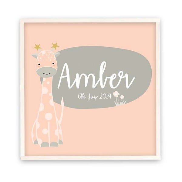 Personalised Pink Giraffe Wooden Name Plaque