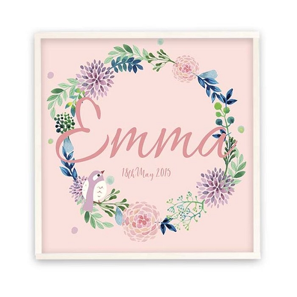 Personalised Pink Bird Wreath Wooden Name Plaque