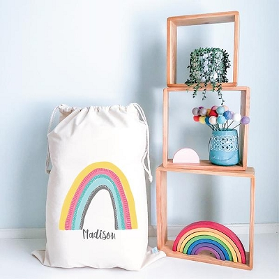 Personalised Drawstring Storage Sack - Rainbow Kids