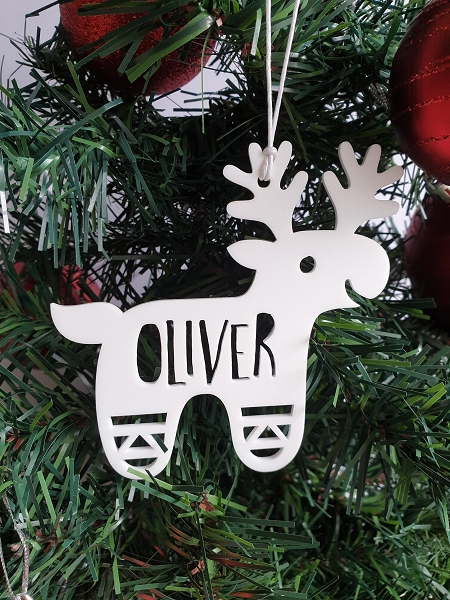 Personalised Reindeer Christmas Ornament Decoration