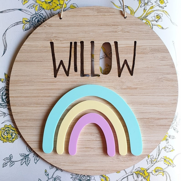Rainbow Personalised Bamboo / Acrylic Name Sign