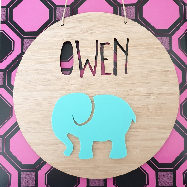 Elephant Personalised Bamboo / Acrylic Name Sign