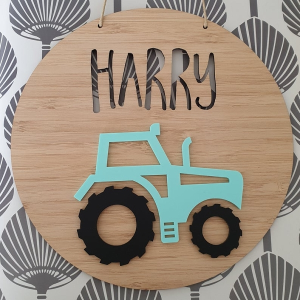 Tractor Personalised Bamboo / Acrylic Name Sign