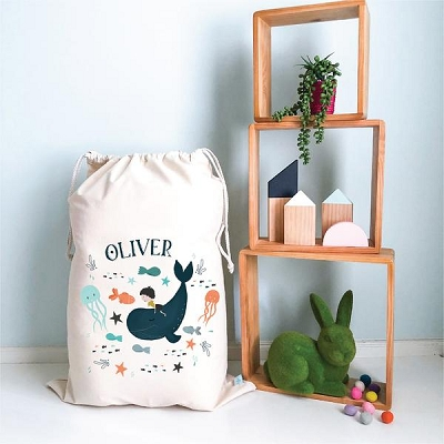 Personalised Drawstring Storage Sack - Whale Rider