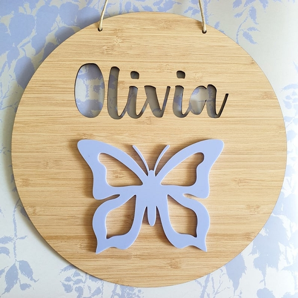 Butterfly Personalised Bamboo / Acrylic Name Sign