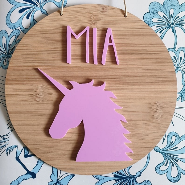 Unicorn Personalised Bamboo / Acrylic Name Sign