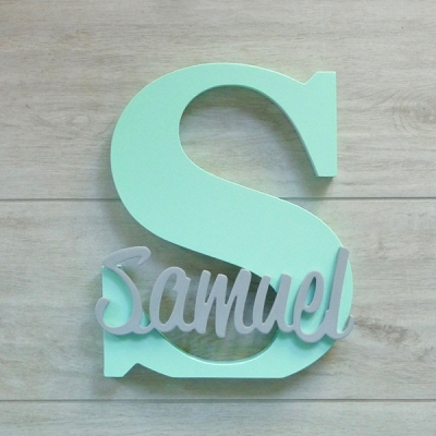 Freestanding Personalised Letter and Name - Mint