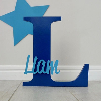 Freestanding Personalised Letter and Name - Navy Blue
