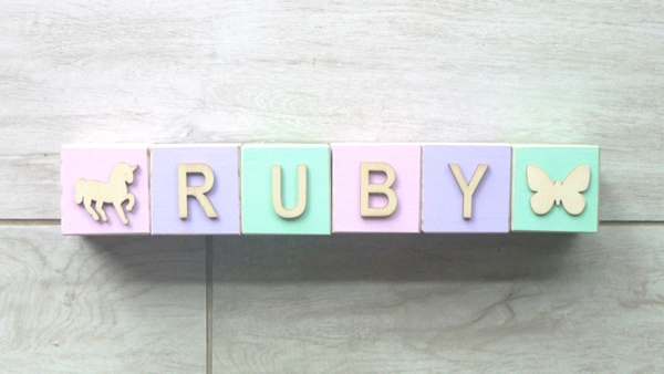Personalised Blocks - Mauve, Mint, Baby Pink