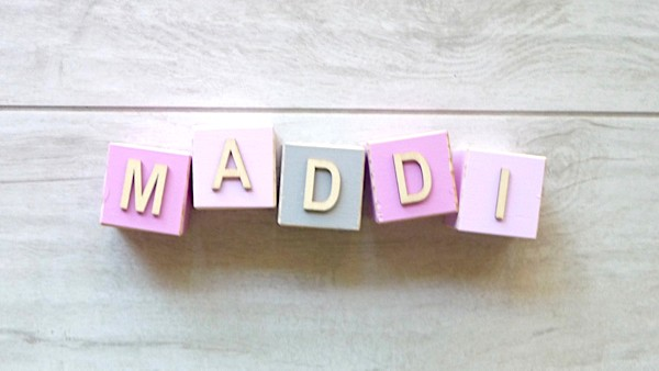 Personalised Blocks - Baby Pink, Pink and Grey