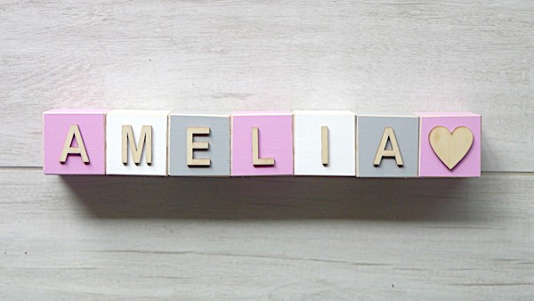 Personalised Blocks - Pink, White and Grey