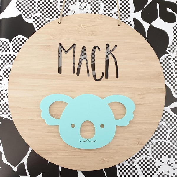 Koala Personalised Bamboo / Acrylic Name Sign