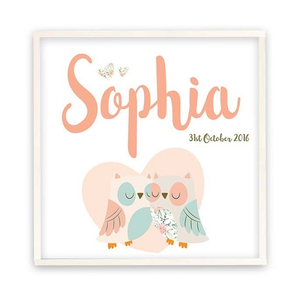 Personalised Owl Heart Wooden Name Plaque
