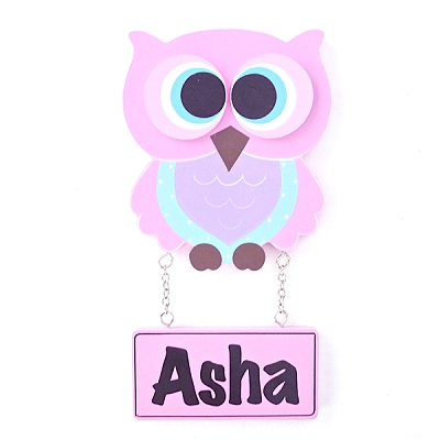 Door Shape with Name - Girl Owl in Light Pink