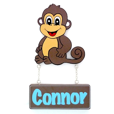 Door Shape with Name - Monkey (boy and girl options)