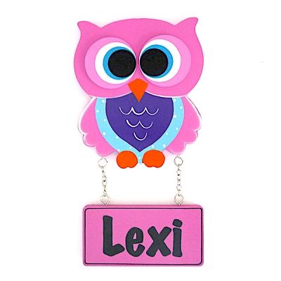 Door Shape with Name - Girl Owl