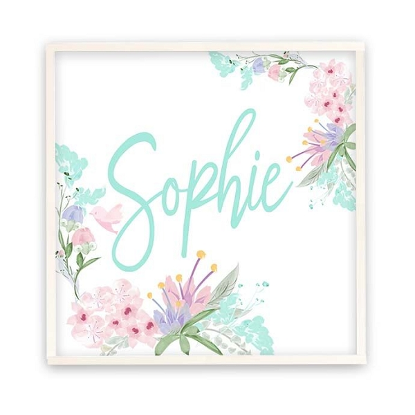 Personalised White Floral Wooden Name Plaque