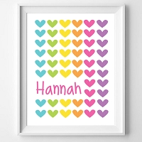 Personalised Rainbow Heart Name Print