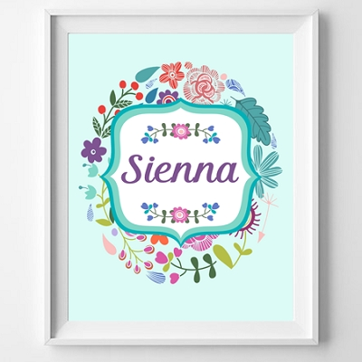 Personalised Floral Name Print (Pink or aqua)