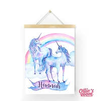 Personalised Watercolour Unicorn Name Print