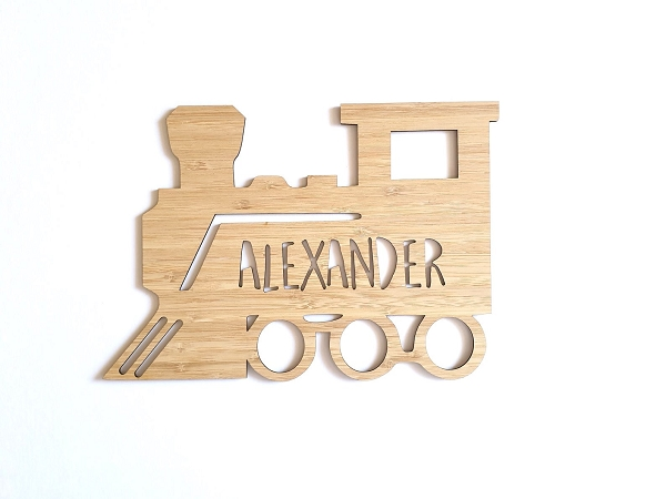 Train Personalised Bamboo Name Sign