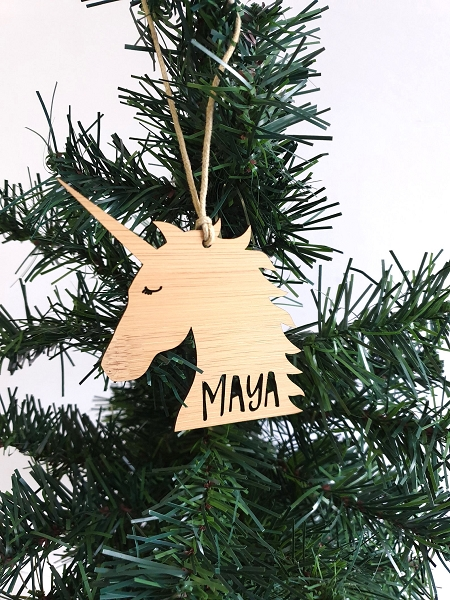 Unicorn Personalised Christmas Ornament