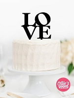 Love stacked wedding engagement cake topper