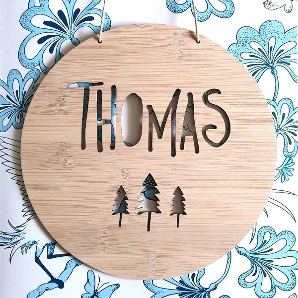 Woodland Trees  Personalised Bamboo Name Sign