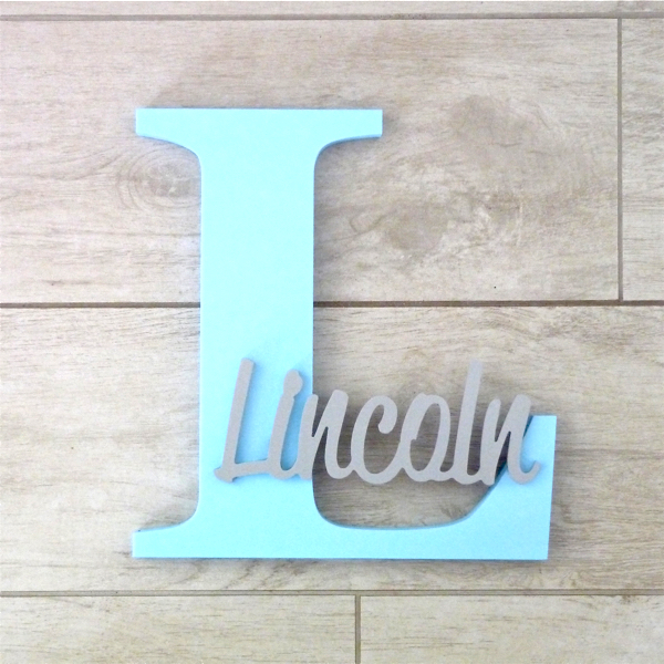 Wall Hanging Personalised Letter and Name - Ice blue