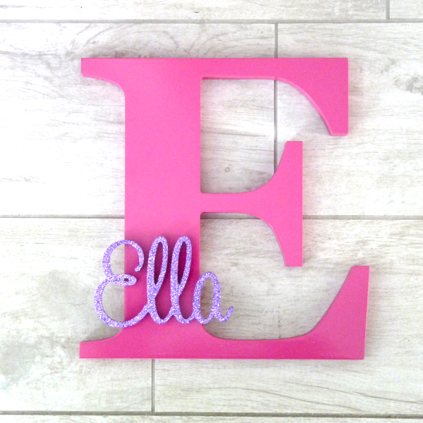 Personalised Wooden Letter With Name In Bermuda Blue