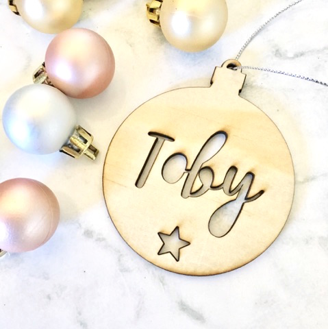 Personalised Christmas Bauble With Star Ply Wood