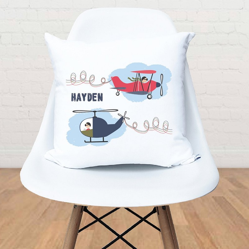 Vintage Plane and helicopter Personalised Custom Cushion