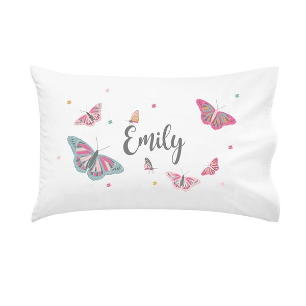 Butterfly Wonderland Girls Personalised Pillow Case
