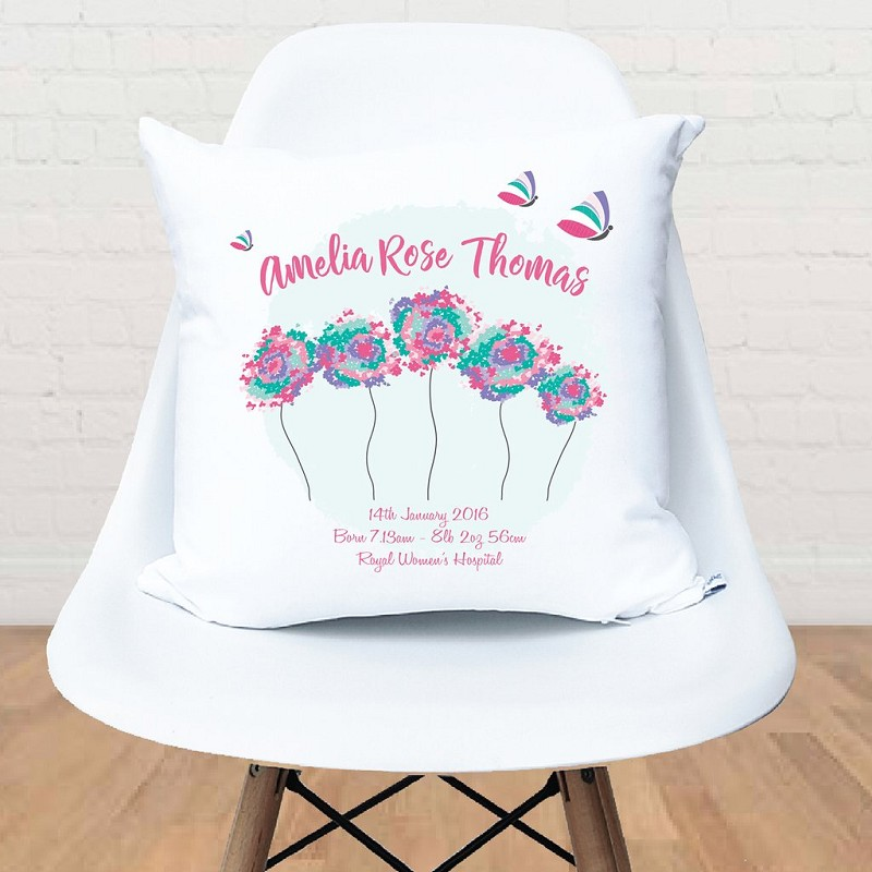Baby Girl Dandelion and Butterfly Birth Personalised Cushion