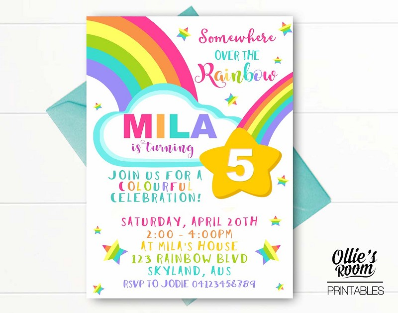Birthday Invitation - Somewhere Over the Rainbow