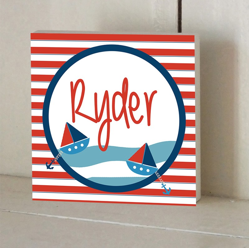 Nautical Stripes Personalised Wooden Name Plaque