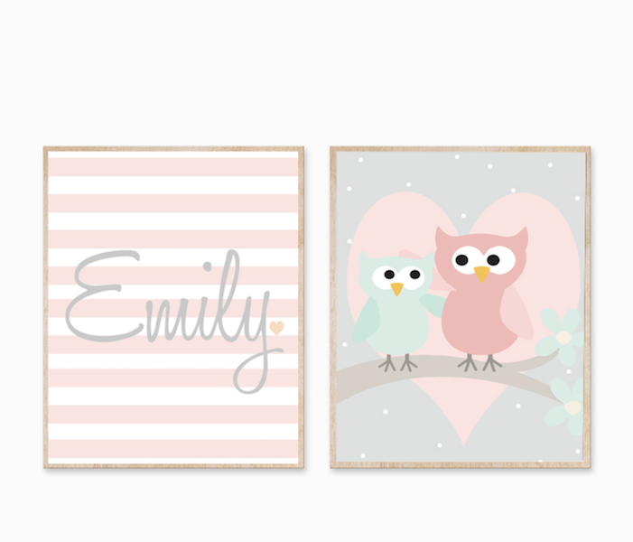 Personalised Birth Print - Owl Heart