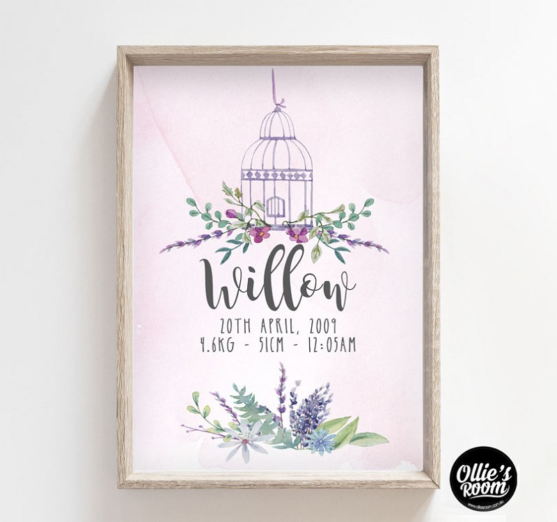 Birth Print - Whimsical Watercolour Florals with Birdcage