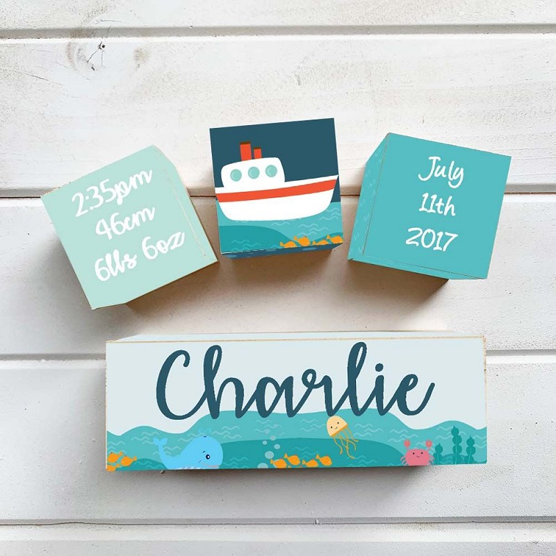 Nautical Wooden Birth Block Set
