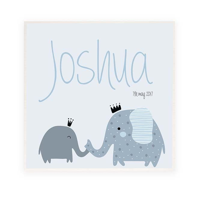 Elephant Personalised Wooden Name Plaque