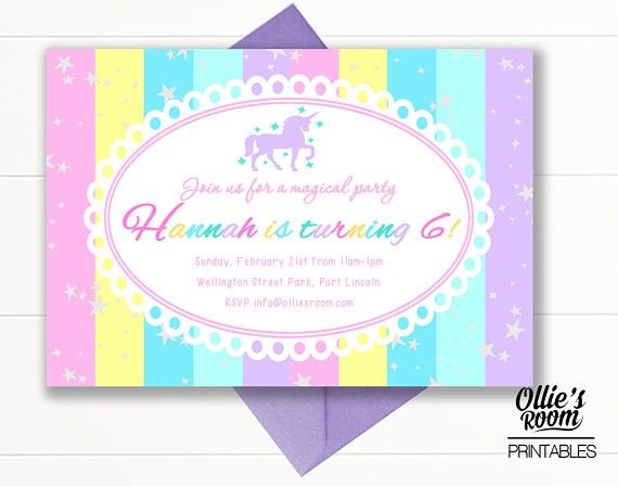 Unicorn Birthday Invitation - Unicorn Stripe