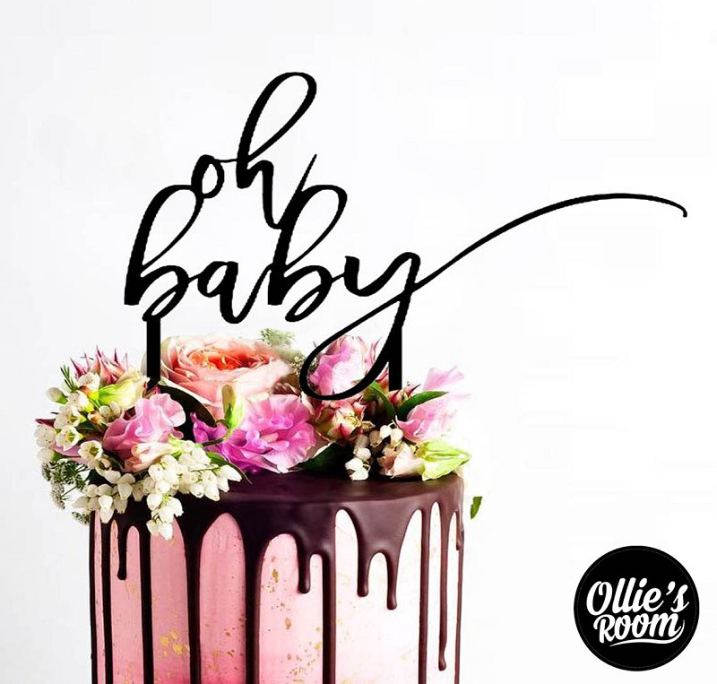 Baby Shower Cake Topper - Oh Baby swirl
