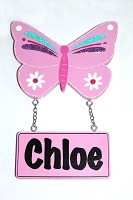 CHLOE - Door Shape with Name - Butterfly