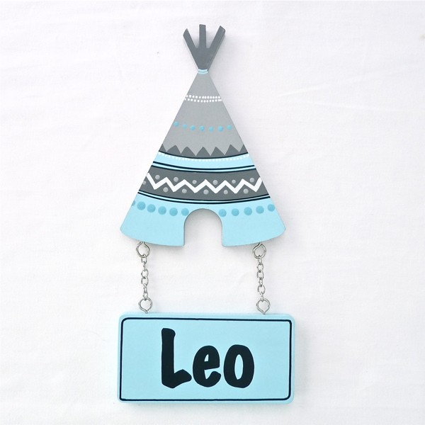 Door Shape with Name - Blue Tribal Teepee