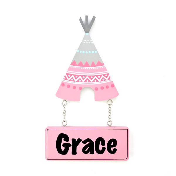 Door Shape with Name - Pink Tribal Teepee