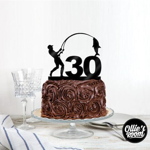 Personalised Fishing Birthday Name Cake Topper