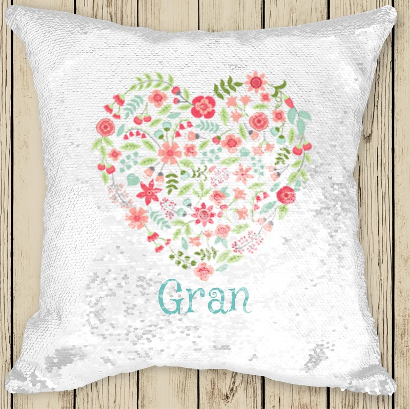 Personalised FLORAL HEART Sequinned Cushion